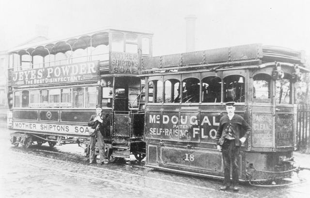 Birmingham steam tram engine no.18 and trailer car no.13