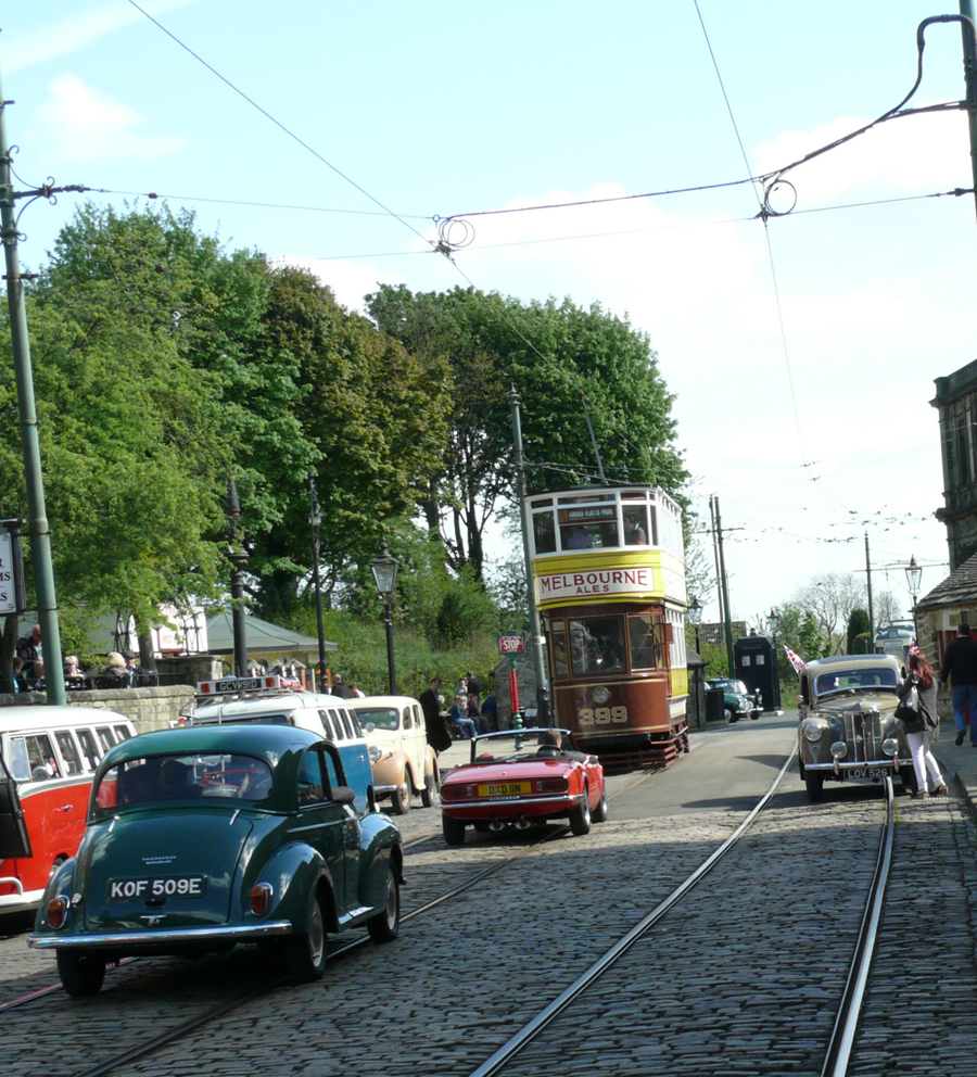 Tram and classic vehicles