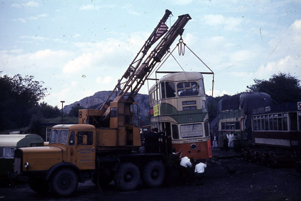 1297's arrival at Crich. Loading and unloading tramcars in those days was a much more precarious affair.in those days than it is now. Photo: Richard Lomas, 13/7/1963