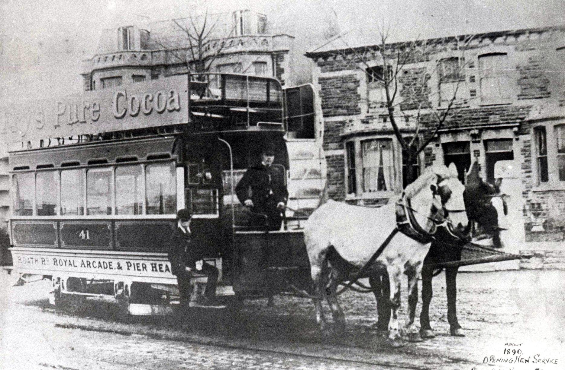 Horse tram 41 on the Royal Oak to Pier Head tram route, circa 1890.