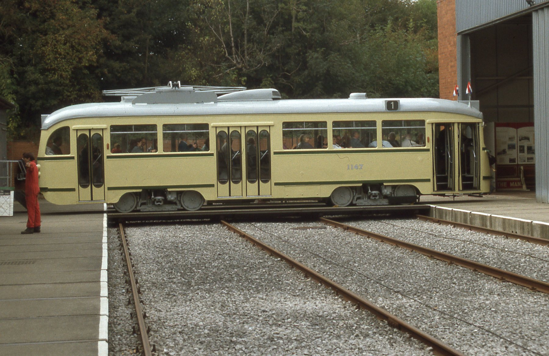 Single-ended PCC car Hague 1147 on the traverser. Photo: Jim Dignan.