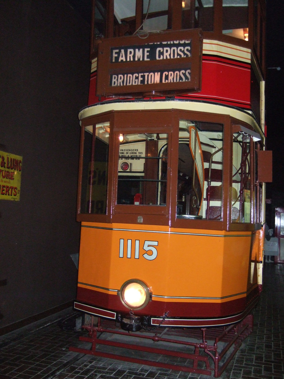 "Glasgow 1115 during its period as the centrepiece of a ""Trams at Night"" display. Photo: Jim Dignan."