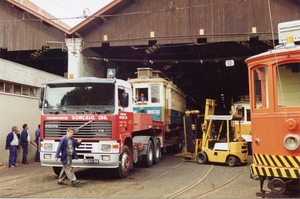 Oporto 273 ready for departure from the Sociedade de Transportes Colectivos do Porto (STCP) deepot in Porto. Photo courtesy of Crich TMS photo archive, August 1995.