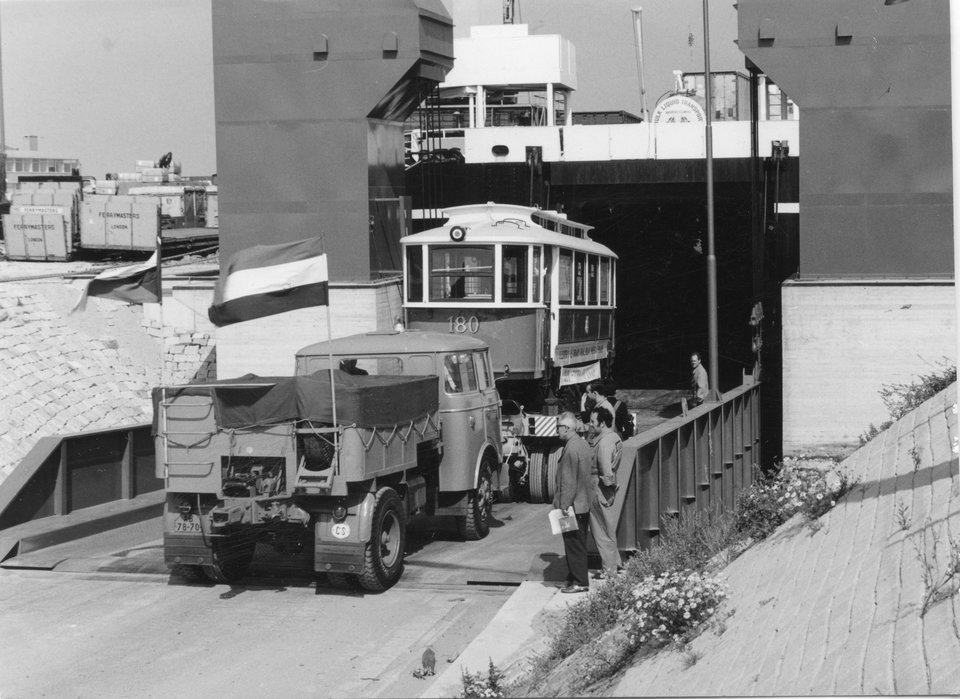 180 boarding the Europic ferry at Europort on 27/8/1968. Photo courtesy of Crich TMS photo archive
