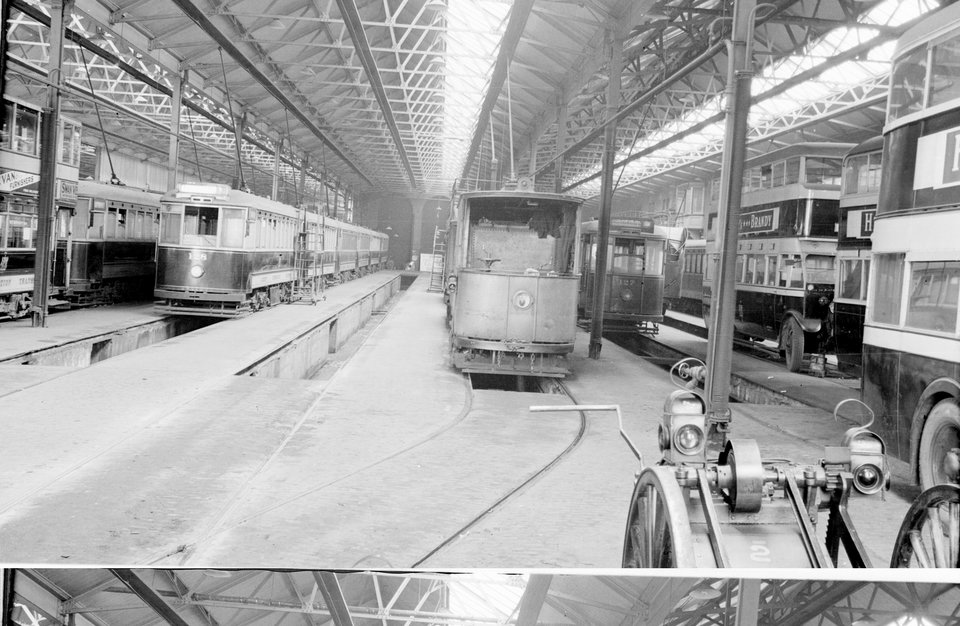 131 together with 127 & 128, Roath depot. H.B. Priestley, 15/4/1939