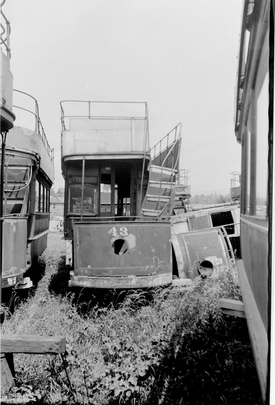 Sister car 43 in St Dennys scrap yard, Southampton; an all too common fate for most of Britain's remaining tramcars after the war. H.B. Priestley, 11/6/1949