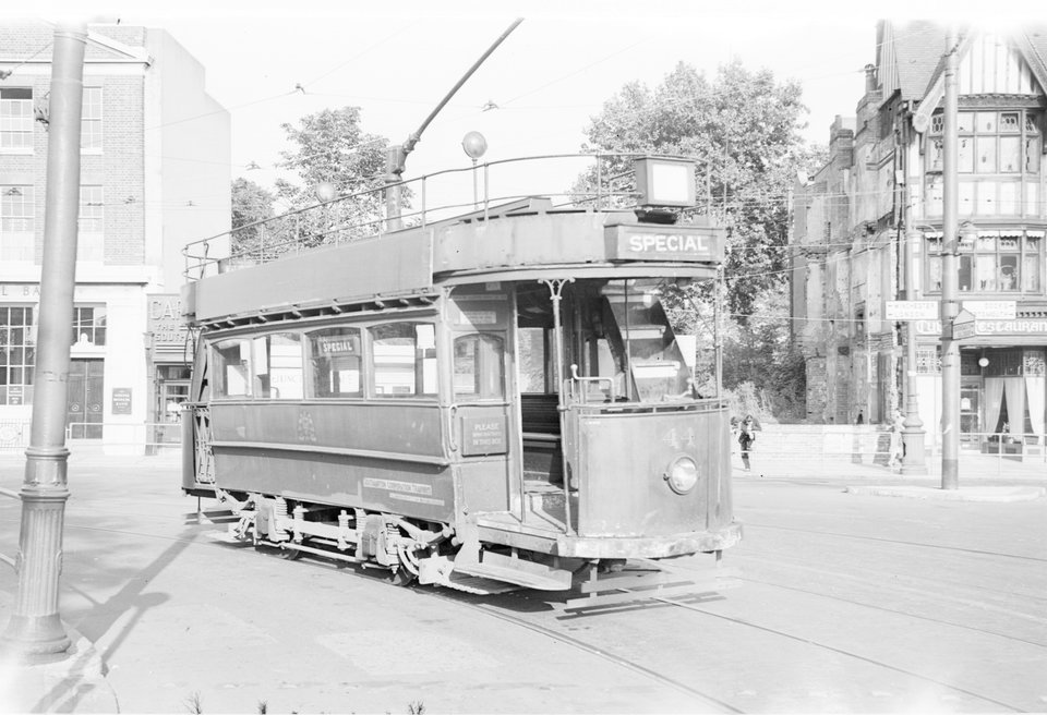 Sister tram 44, the one that was originally selected for preservation on an LRTA special tour in August 1949. D.W.K. Jones, date unknown.
