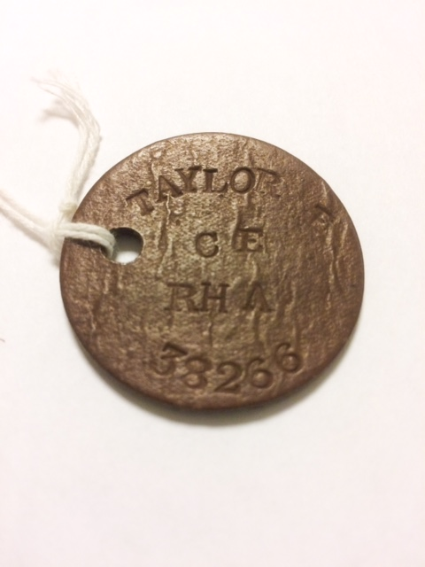Royal Artillery identification tag belonging to Ernest Taylor