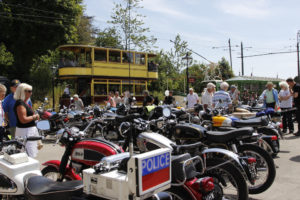 Motorcycles and tram at Townend