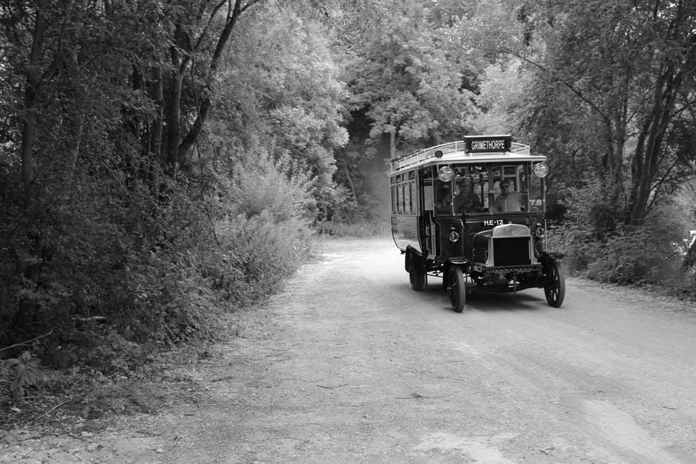 Bus on quarry road