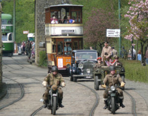 Trams bikes and car
