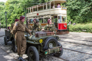 Soldiers and tram