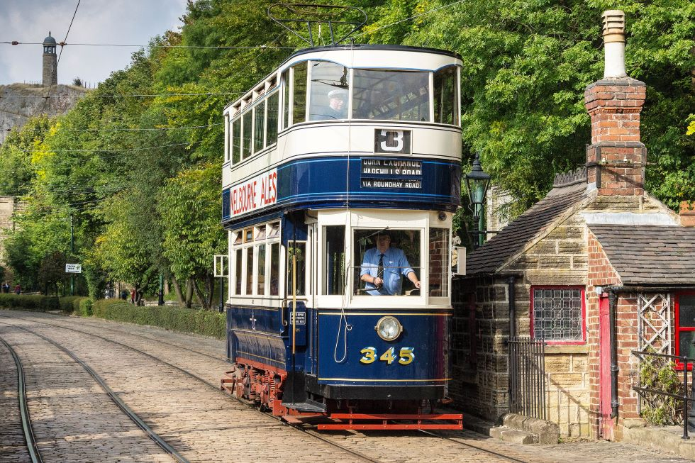 Leeds 345 in operation in  2015 at Crich Tramway Village