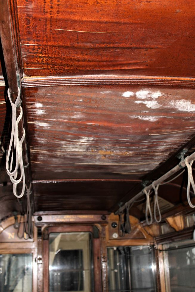 Derby 1 lower saloon ceiling Crich 2 May 2021. Photo  Paul Abell