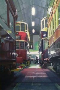 Denise Cliffen Painting of Tramway Museum Workshop