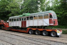 Blackpool 298 Arrives at Crich While Derby 1 Leaves