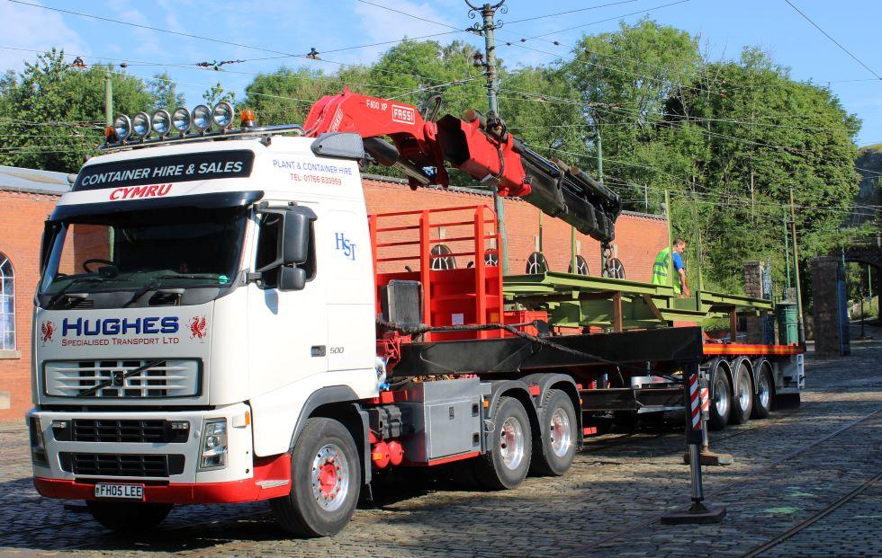 Under frame arrives at Crich Tramway