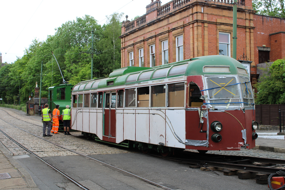 Blackpool 298 arrives at Crich