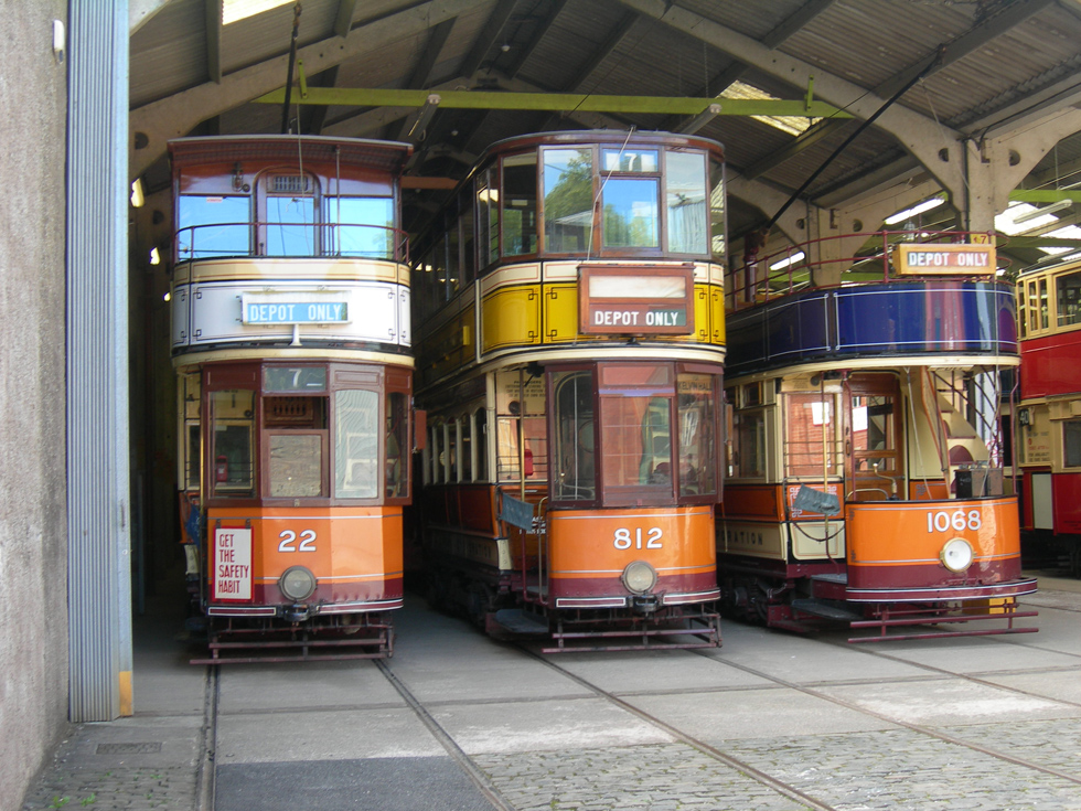 Glasgow Trams in the old Depot