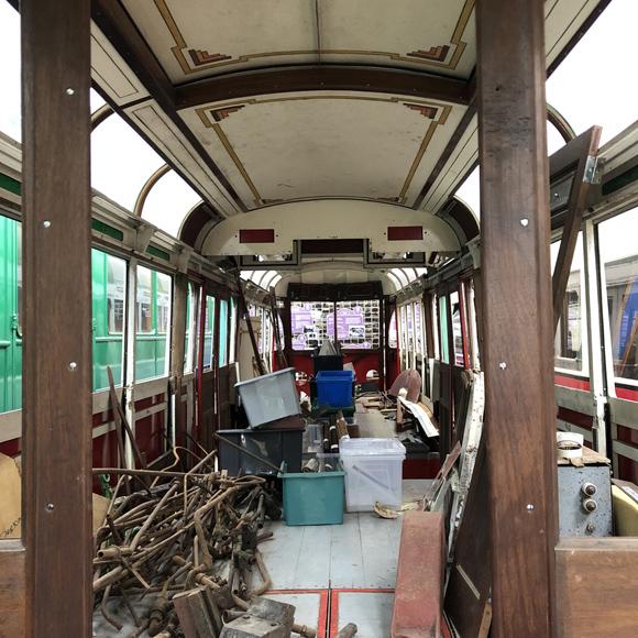 Inside Blackpool 298 prior to restoration