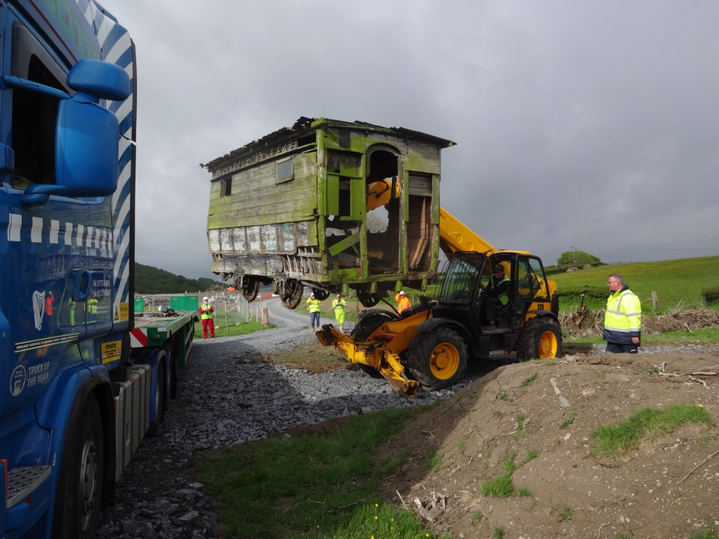 North Metropolitan horse tram being extracted from farm site in Powys - photo by Mike Crabtree